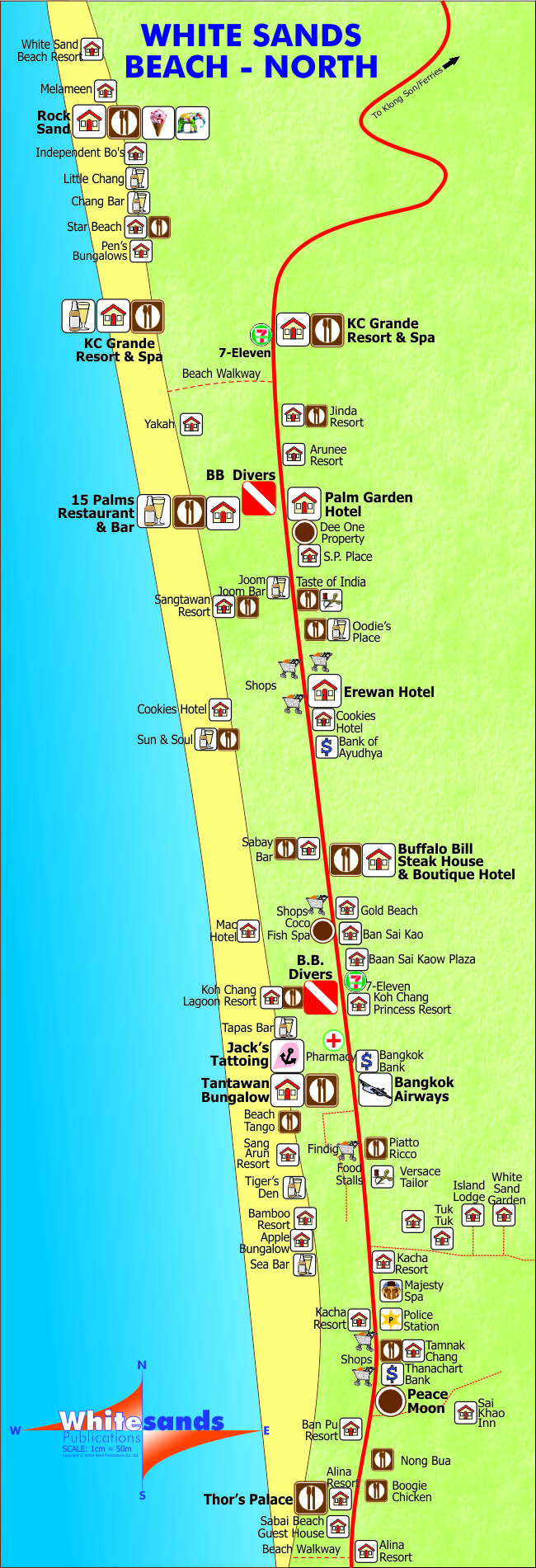 White Sand Beach North Map